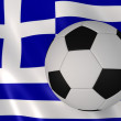 Greek flag and football  — Stock Photo
