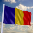 Romanian flag with blue sky — Stock Photo