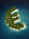 Euro sign shaped tropical island — Stock Photo