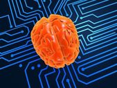 3d rendered illustration of a chip and a human brain — Stock Photo