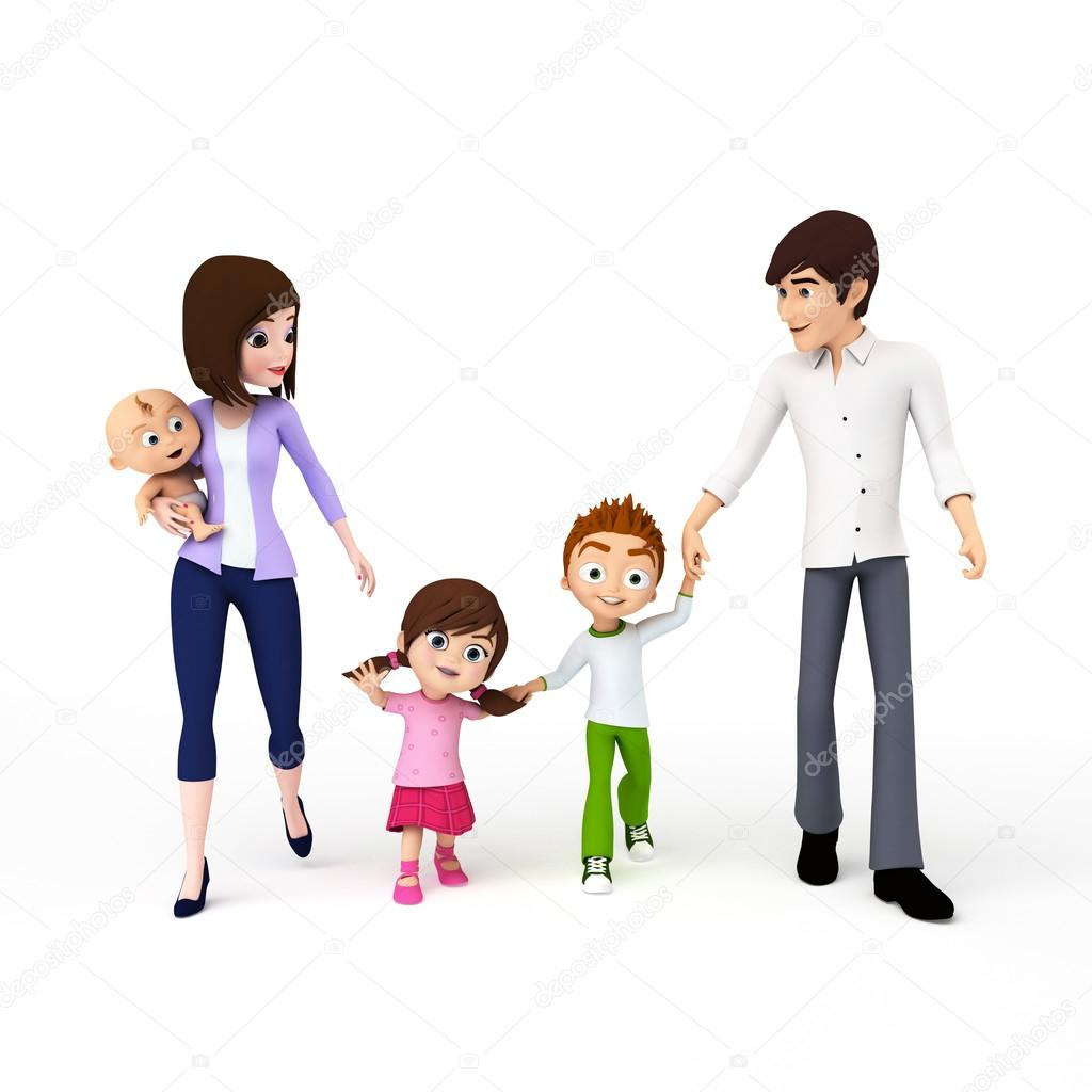 3d rendered toon illustration of a happy family  Stock Photo #12444157