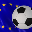 Soccer ball on euro flag background — Stock Photo