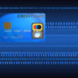 Credit card on a binary code background - Photo