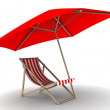 Red lounge with umbrella — Stock Photo