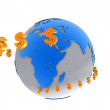 International currency signs flying around a world globe - Foto Stock
