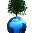 Tree on globe — Stock Photo