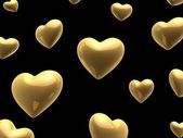 Golden valentine hearts — Stock Photo