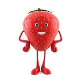 3d rendered illustration of a strawberry character — Stock Photo