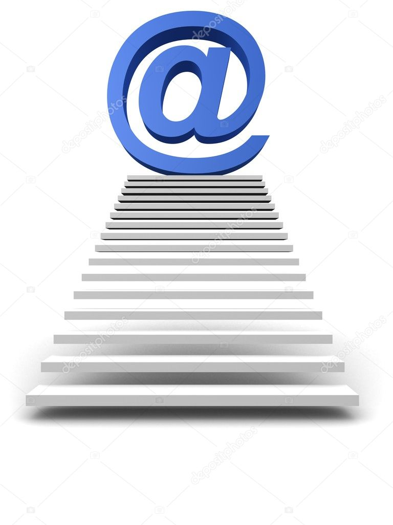 Stairway to blue mail symbol — Stock Photo #12451169