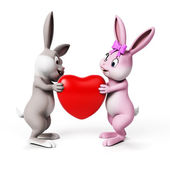 Cute easter bunny hold heart — Stock Photo