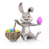 Cute easter bunny with easter egg — Stock Photo