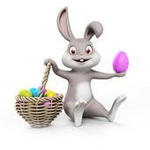 可爱复活节兔子复活节彩蛋与 — 图库照片