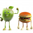 Stock Photo: Illustration of apple versus buger