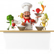 A kitchen chef bothering with vegetables — Stock Photo