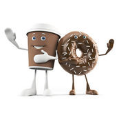 Illustration of a coffee cup and donut — Stock Photo