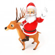 Small Santa and reindeer — Stock Photo