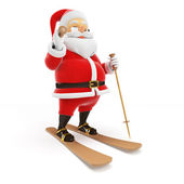 Small Santa on skis — Stock Photo
