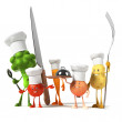 Vegetable characters. 3d - Stock Photo