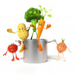 Illustration of a cooking pot full of vegetables — Stock Photo