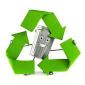 Trash can character — Stockfoto