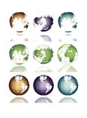 Globe of the earth in different positions — Stock Vector