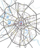 Map of Moscow main roads and subway station — Stock Photo
