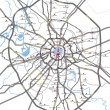 Map of Moscow main roads and subway station — Stock vektor