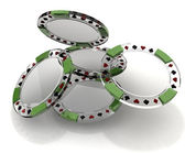 Glass poker chips — 图库照片