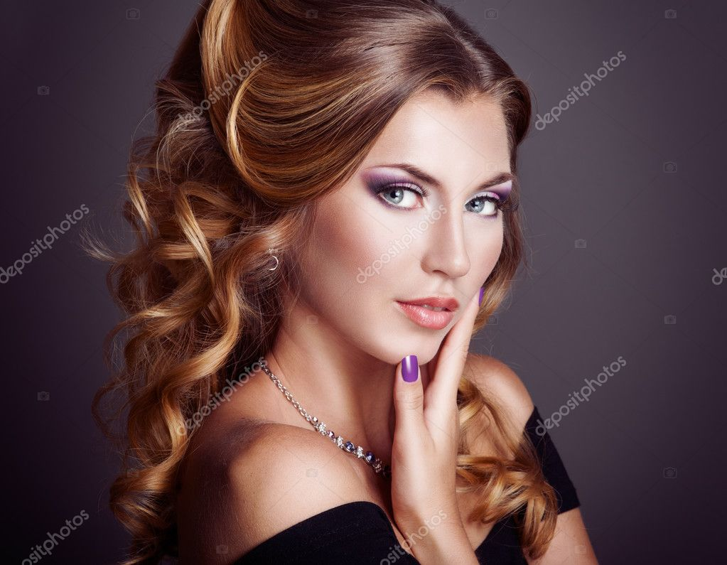 Beautiful woman with curly hairstyle  Stock Photo #13170586