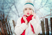 Winter Woman portrait — Stockfoto