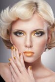 Gold makeup — Foto de Stock