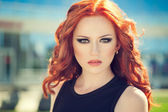 Woman with red hair — Foto Stock