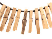 Clothespins and rope — Stock Photo