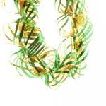 zelený vánoční pozlátko hranice, izolované na bílém — Stock fotografie