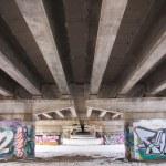 Graffiti under the bridge of the highway — Stock Photo #22044717