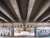 Graffiti under the bridge of the highway — Stock Photo