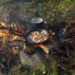 Stock Photo: Frying pand pot on fire