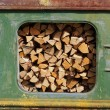 Railway wagon with wood — Stock Photo