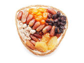 Dried fruits on white background — Stock Photo
