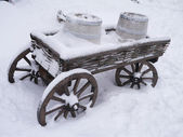 Dray horse with barrels in the snow — Stock Photo