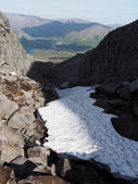 Snow in the mountains in summer — Stok fotoğraf