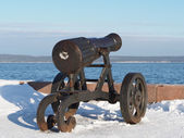 Gun on quay of Onega in Petrozavodsk, Russia — Stockfoto