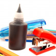 Felt-tip pens, stapler and paint  — Stock Photo