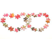 Two heart from a puzzle — Stock Photo