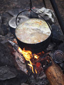 Traditional campfire cooking — Stock Photo