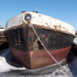 Stock Photo: Old ship on lake in winter