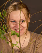 Girl with plant — Stock Photo