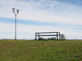 Bench and lantern — Stockfoto