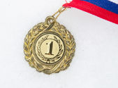 Medal on a snow — Stockfoto
