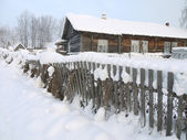 Winter in Russian village — Stock Photo